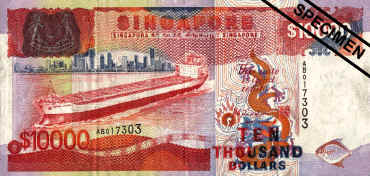 SINGAPORE CURRENCY (10000 Dollar) .......The world biggest monetary     currency value.